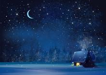 Vector Night Winter Landscape ...