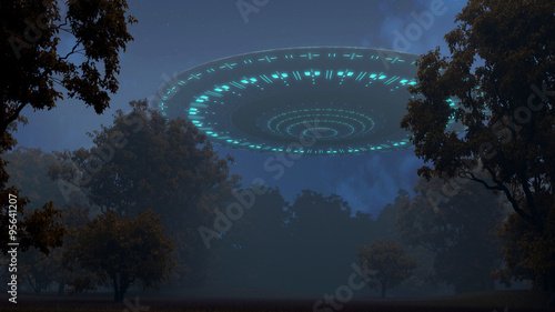 фотография  Ufo in night forest