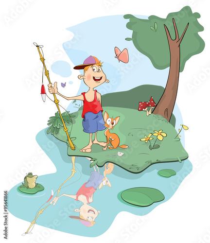 Staande foto Kasteel illustration of fisherman and cat cartoon