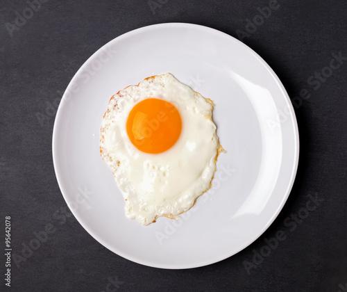 Deurstickers Gebakken Eieren Fried egg in a white plate on the black background