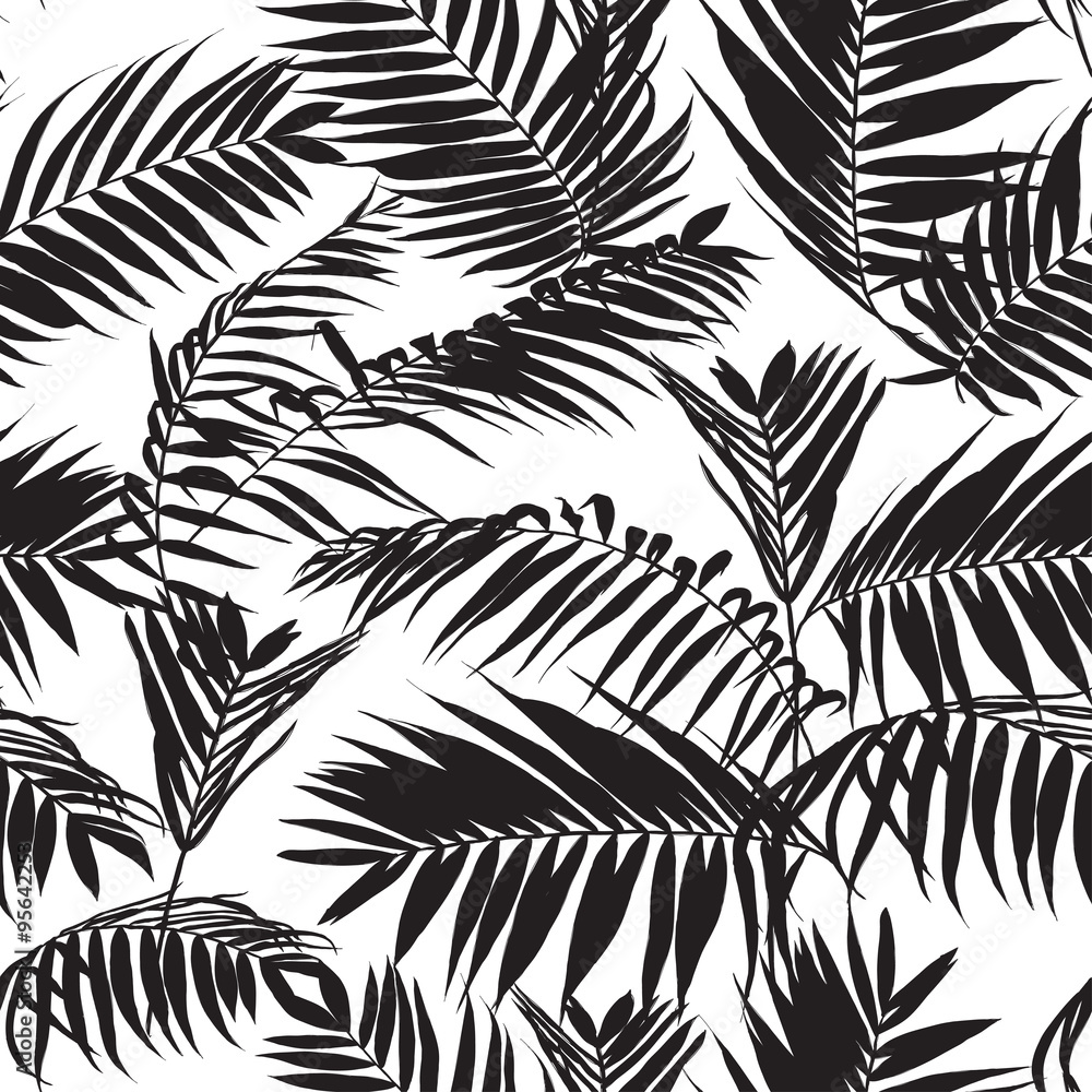 Poster Foto Black And White Palm Leaves Pattern Seamless Trendy