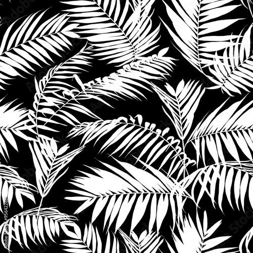Black And White Palm Leaves Pattern Seamless Trendy Tropical Fabric