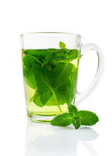 Mint Tea In A Glass Cup