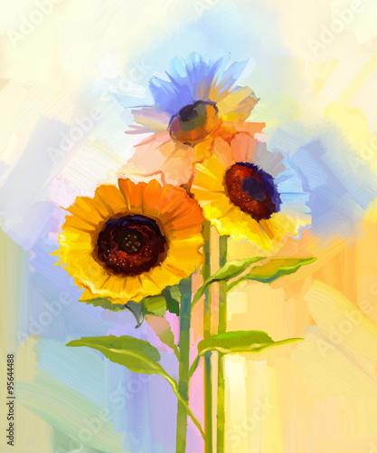Obrazy wieloczęściowe malowane słoneczniki