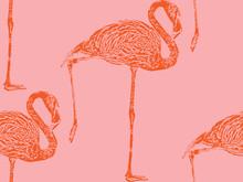 Vector Vintage Illustration Of A Pink Flamingo. Seamless Animal Pattern