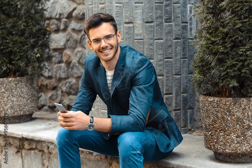 Fototapety, obrazy: Concept for stylish young man outdoors