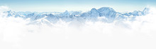 Panorama Of Winter Mountains In Caucasus Region,Elbrus Mountain,