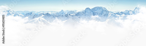 Fototapeta Panorama of winter mountains in Caucasus region,Elbrus mountain, obraz