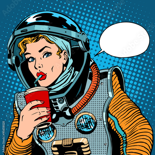 Fotografie, Obraz  Female astronaut drinking soda