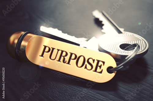 Purpose - Bunch of Keys with Text on Golden Keychain. Canvas Print