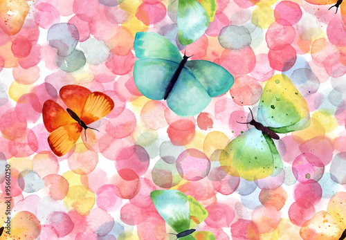 Materiał do szycia Jasne abstrakcja bezszwowe z kolorowe kropki akwarela i motyle