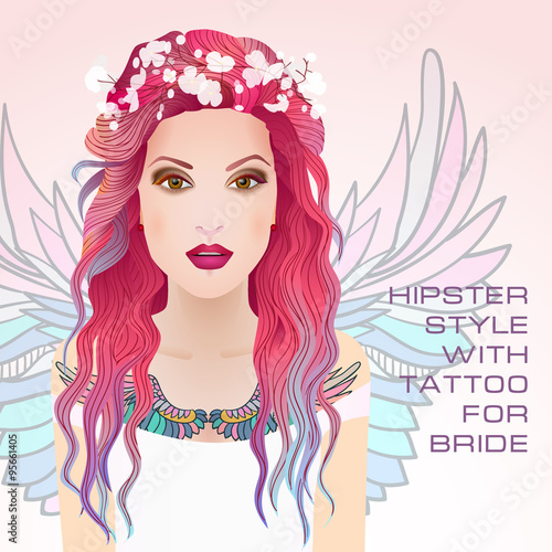 f5b024746 Beauty face of bride. Vector illustration. Hipster style with tattoo for  bride. Beautiful woman with wreath on head. Pink and blue hairstyle.