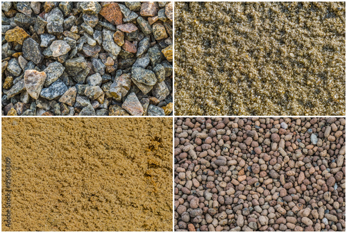 Texture loose materials: crushed stone (granite gravel), river sand, quarry sand (ravine sand),expanded clay aggregate (expanded clay gravel) Wallpaper Mural