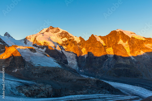 Piz Bernina in morning sunshine Canvas Print