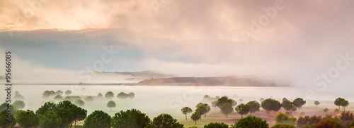 Foto auf Gartenposter Fluss Mist over the Guadiana River, Spain, Andalucia.
