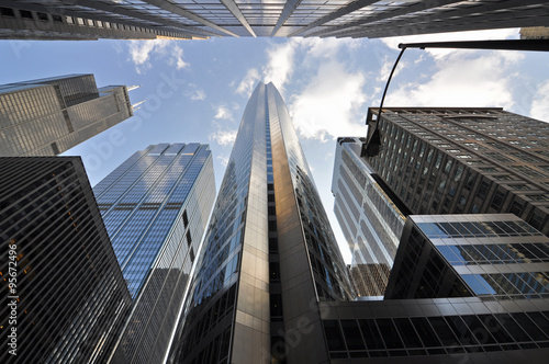 Chicago skyscrapers in financial district, IL, USA