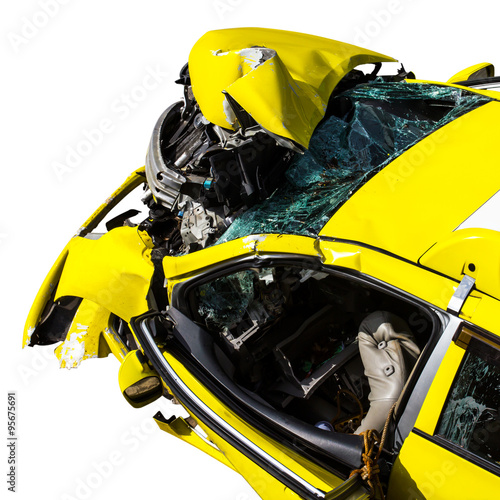 Keuken foto achterwand Cars Isolate yellow car accident.