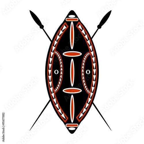 African Zulu Warrior Shield  - Buy this stock illustration