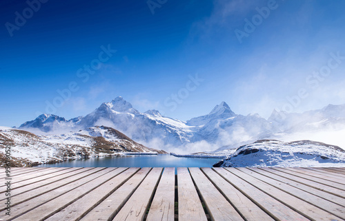 Photo Stands Reflection first mountain grindelwald switzerland