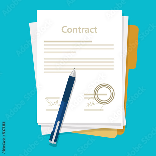 Fotografía  signed paper deal contract icon agreement  pen on desk  flat business illustrati