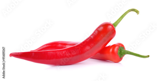 Spoed Foto op Canvas Hot chili peppers red chili on white background