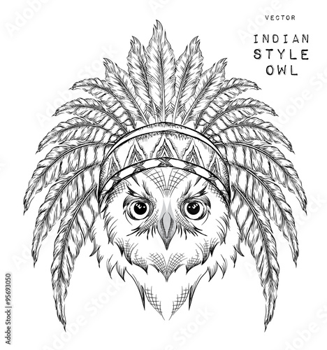 Wall Murals Hand drawn Sketch of animals Owl in the Indian roach. Indian feather headdress of eagle. Hand draw vector illustration