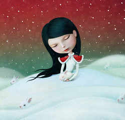 Winter illustration or poster or greeting card with little girl and bunny