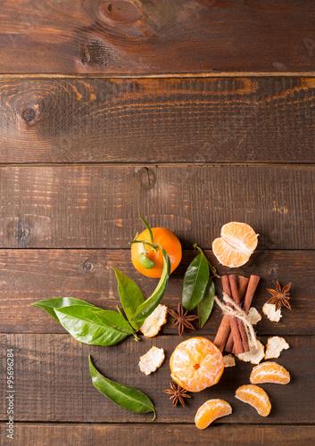 Fototapeta clementines with cinnamon and anise obraz na płótnie