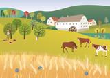 Inmitten von Farmen und schönen Wiesen