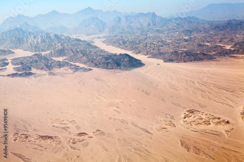 Valokuva  The Horeb mountains in Egypt on Sinai Peninsula with Sahara desert, aerial view