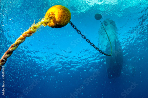 boat ship from underwater blue ocean