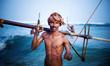 Leinwanddruck Bild - Smiling Fisherman Portrait Cultural Fishing Concept