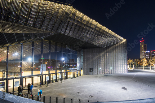Night view of the International Conferrence Centre in Katowice, Silesia