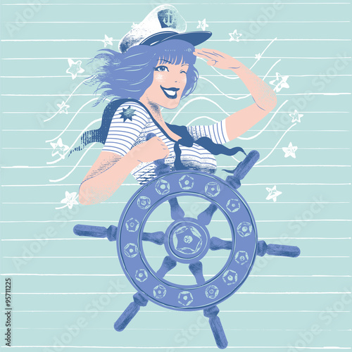 Fotografia  Illustration of a pin up girl doing the salute while spinning a rudder