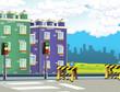 cartoon scene of some city in the background - illustration for children