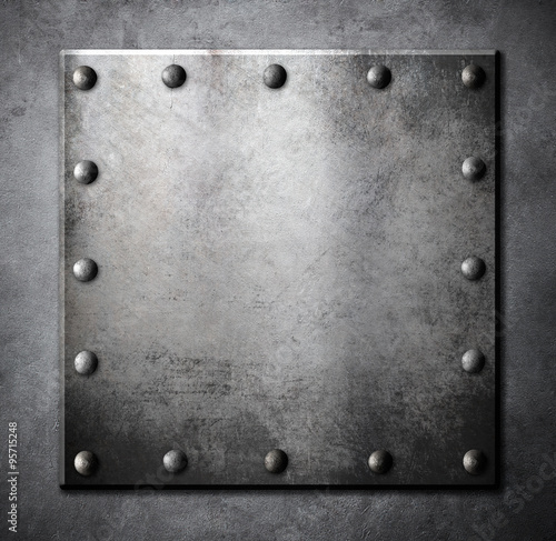 Valokuva  steel metal square plate or hatch with rivets