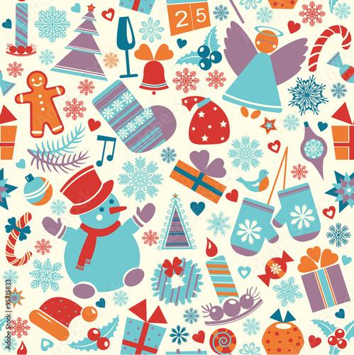 Cotton fabric Seamless christmas pattern.