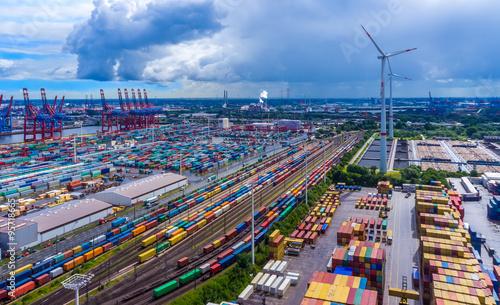 Plakat Panorama widok z lotu ptaka portu Hamburg kontenera