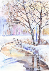 Panel Szklany Zima Watercolor painting: winter landscape with frozen trees