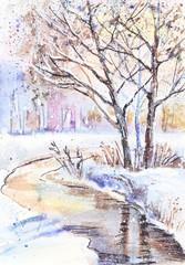 Fototapeta Zima Watercolor painting: winter landscape with frozen trees