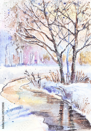 Watercolor painting: winter landscape with frozen trees  - 95720806