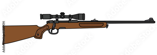Fotografía  Classic hunting rifle with a telescope / Hand drawing
