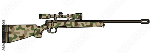 Valokuva Camouflage rifle with a telescope / Hand drawing