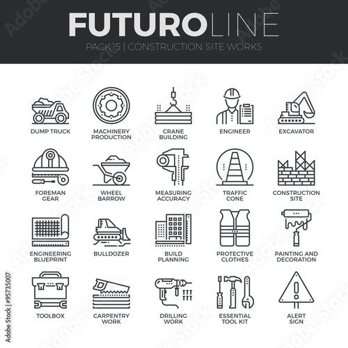 Obraz Construction Works Futuro Line Icons Set - fototapety do salonu