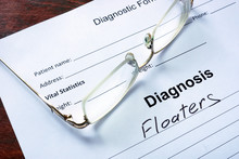 Diagnosis List With Floaters And Glasses. Eye Disorder Concept.