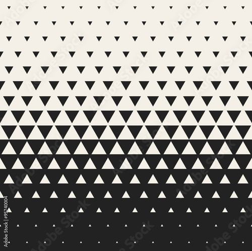 Fotografie, Obraz  Vector Seamless Black and White Morphing Triangle Halftone Grid Gradient Pattern