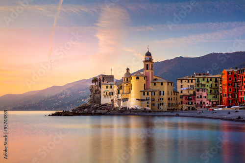 Garden Poster Liguria Beautiful Small Mediterranean Town at the sunrise time -
