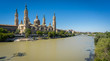 El Pilar basilica and the Ebro River, wide angle