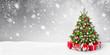 Leinwanddruck Bild - Weihnachtsbaum und Schnee Hintergrund