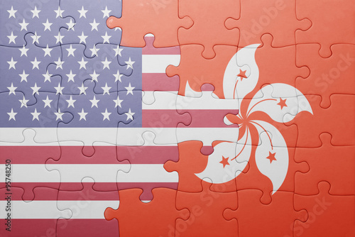 Photo  puzzle with the national flag of united states of america and hong kong